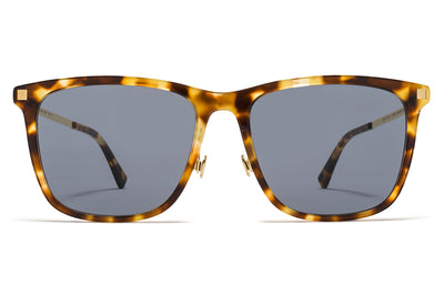 MYKITA Sunglasses - Jovva with Nose Pads Cocoa Sprinkles/Glossy Gold with Dark Blue Solid Lenses