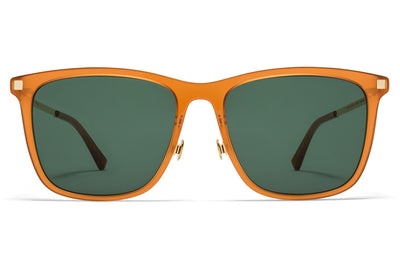 MYKITA Sunglasses - Jovva with Nose Pads Dark Amber/Glossy Gold with Dark Green Solid Lenses