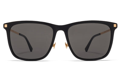 MYKITA Sunglasses - Jovva with Nose Pads Black/Glossy Gold with Dark Grey Solid Lenses