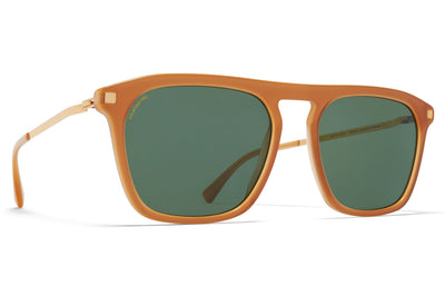 MYKITA - Kallio Sunglasses Brown/Dark Brown/Glossy Gold with Raw Brown Solid Lenses with Polarized Pro Green 15 Lenses
