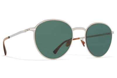 MYKITA - Kasimir Sunglasses Shiny Silver with Dark Green Solid Lenses
