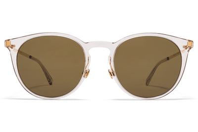 MYKITA Sunglasses - Keelut with Nose Pads Champagne/Glossy Gold with Raw Brown Solid Lenses