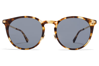 MYKITA Sunglasses - Keelut with Nose Pads Cocoa Sprinkles/Glossy Gold with Dark Blue Solid Lenses