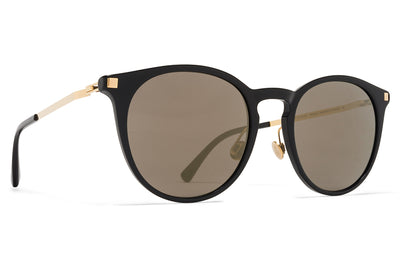 MYKITA Sunglasses - Keelut with Nose Pads Black/Glossy Gold with Brilliant Grey Solid Lenses