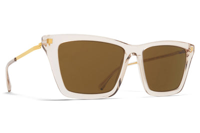 MYKITA - Kiska Sunglasses Champagne/Glossy Gold with Raw Brown Solid Lenses