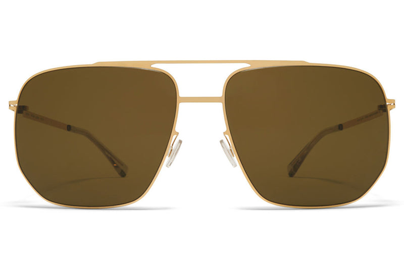 MYKITA - Lillesol Sunglasses Glossy Gold with Raw Brown Solid Lenses