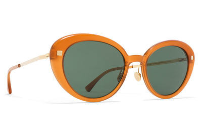 MYKITA Sunglasses - Luava with Nose Pads Dark Amber/Glossy Gold with Dark Green Solid Lenses
