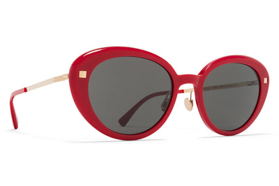 MYKITA Sunglasses - Luava with Nose Pads Red/Champagne Gold with Dark Grey Solid Lenses