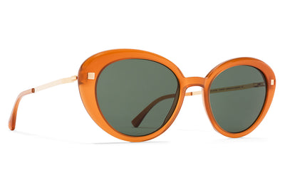 MYKITA Sunglasses - Luava Dark Amber/Glossy Gold with Dark Green Solid Lenses