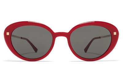 MYKITA Sunglasses - Luava Red/Champagne Gold with Dark Grey Solid Lenses