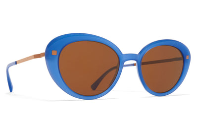 MYKITA - Luava Sunglasses Misty Blue/Shiny Copper with Brown Solid Lenses