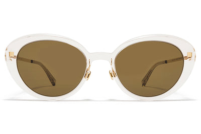 MYKITA Sunglasses - Luava with Nose Pads Champagne/Glossy Gold with Raw Brown Solid Lenses