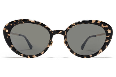 MYKITA Sunglasses - Luava with Nose Pads Antigua/Champagne Gold with Mirror Black Lenses