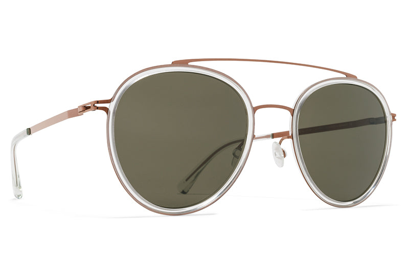 MYKITA Sunglasses - Meri Shiny Copper/Mint Water with Raw Green Solid Lenses