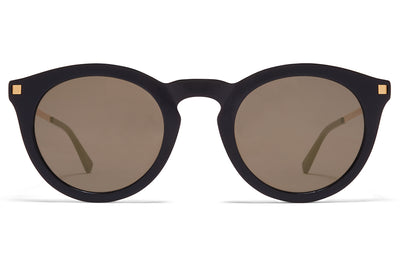 MYKITA - Meriwa Sunglasses Black/Glossy Gold with Brilliant Grey Solid Lenses