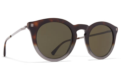 MYKITA - Meriwa Sunglasses Santiago Gradient/Shiny Graphite with Raw Green Solid Lenses