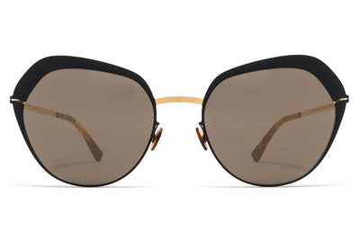 MYKITA Sunglasses - Mette Gold/Jet Black with Brilliant Grey Solid Lenses