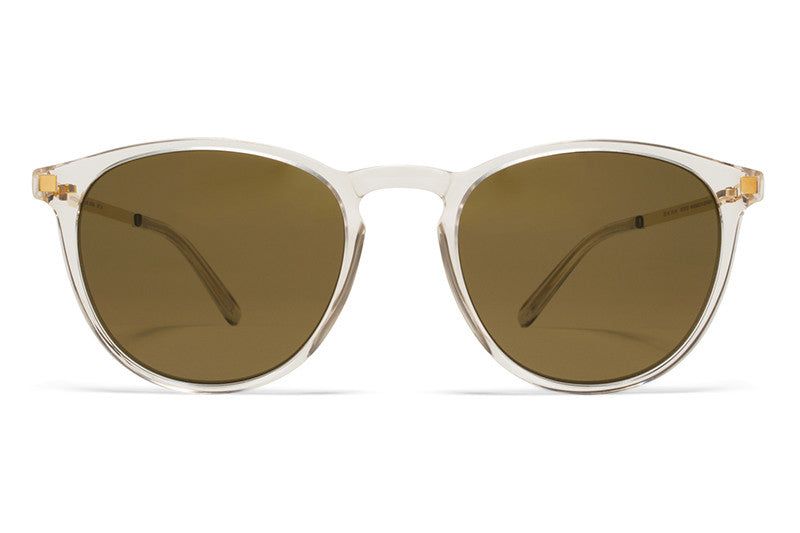 MYKITA Sunglasses - Nukka Champagne/Glossy Gold with Raw Brown Solid Lenses