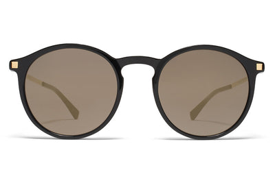 MYKITA Sunglasses - Oki Black/Glossy Gold with Brilliant Grey Solid Lenses