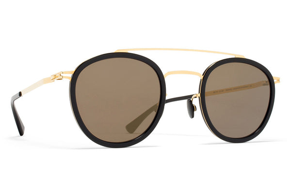 MYKITA Sunglasses - Olli Glossy Gold/Black with Brilliant Grey Solid Lenses