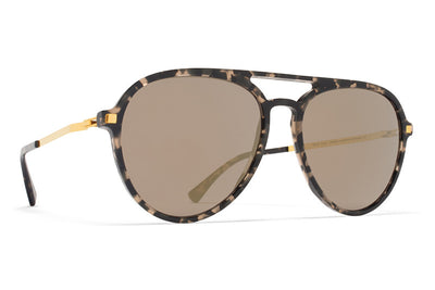 MYKITA Sunglasses - Sanuk Antigua/Glossy Gold with Brilliant Grey Solid Lenses