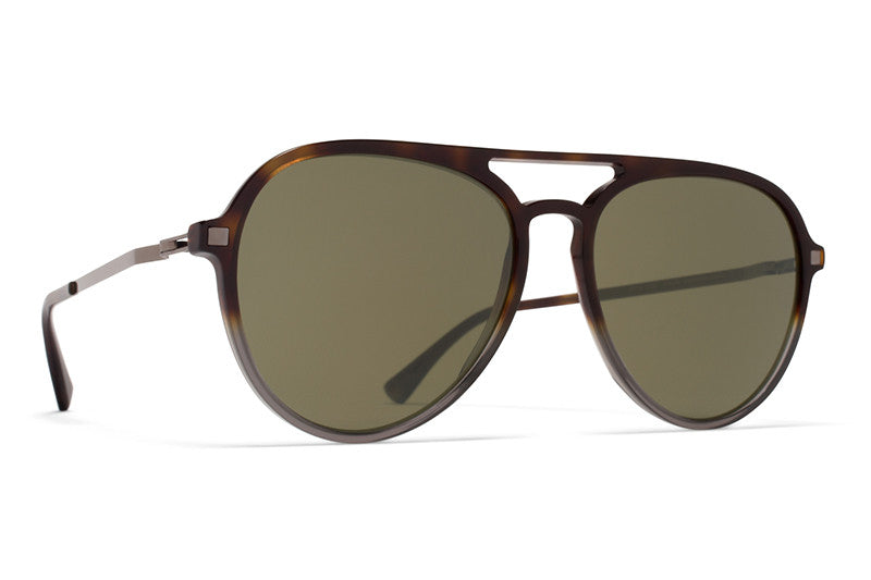 MYKITA Sunglasses - Sanuk Santiago Gradient/Shiny Graphite with Raw Green Solid Lenses