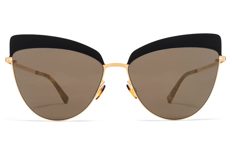 MYKITA Sunglasses - Svea Gold/Jet Black with Brilliant Grey Solid Lenses