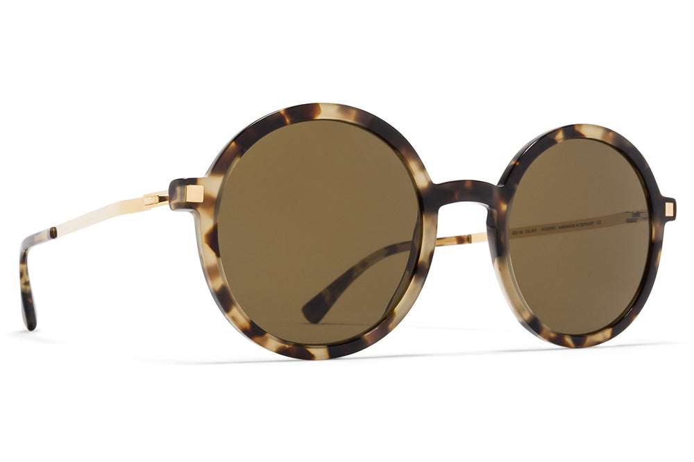 MYKITA - Tolco Sunglasses Chocolate Chips/Glossy Gold with Raw Brown Solid Lenses