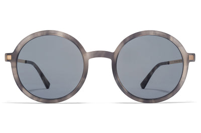 MYKITA - Tolco Sunglasses Grey Havana/Champagne Gold with Dark Blue Solid Lenses