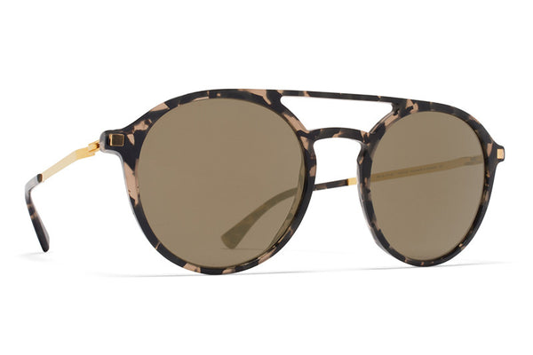 MYKITA Sunglasses - Tupit Antigua/Glossy Gold with Brilliant Grey Solid Lenses