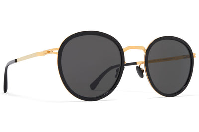MYKITA - Tuva Sunglasses Glossy Gold/Black with Dark Grey Solid Lenses