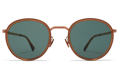 MYKITA - Tuva Sunglasses Shiny Copper/Topaz with Dark Green Solid Lenses