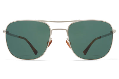 MYKITA - Vito Sunglasses Shiny Silver with Dark Green Solid Lenses