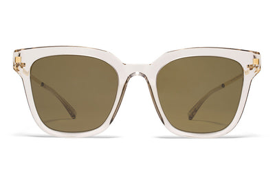 MYKITA Sunglasses - Yuka Champagne/Glossy Gold with Raw Brown Solid Lenses