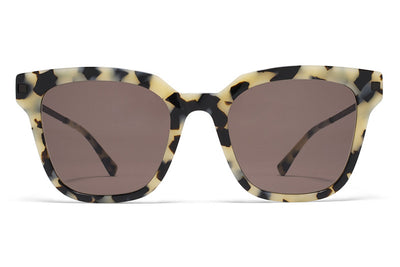 MYKITA Sunglasses - Yuka Creamy Cookie/Black with Brown Solid Lenses