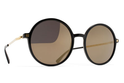 MYKITA Sunglasses - Anana Black/Glossy Gold with Brilliant Grey Solid Lenses