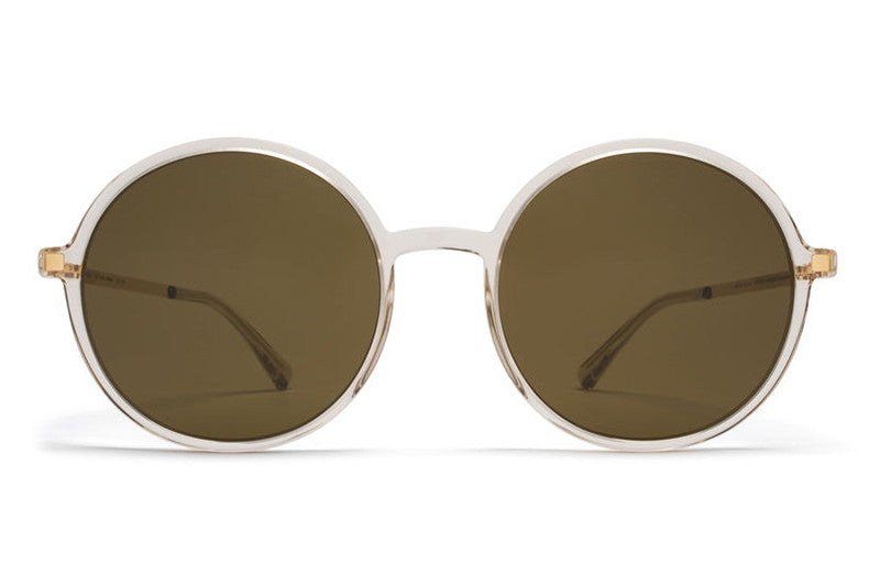 MYKITA Sunglasses - Anana Champagne/Glossy Gold with Raw Brown Solid Lenses