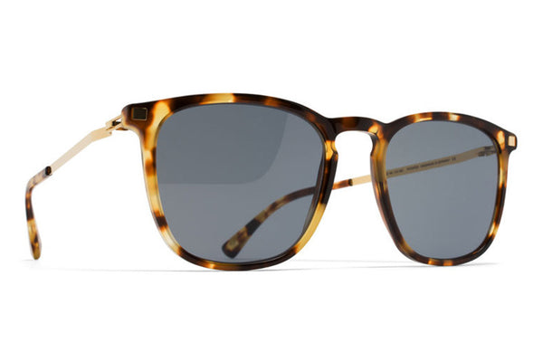 MYKITA Sunglasses - Atka Cocoa Sprinkles/Glossy Gold with Dark Blue Solid Lenses