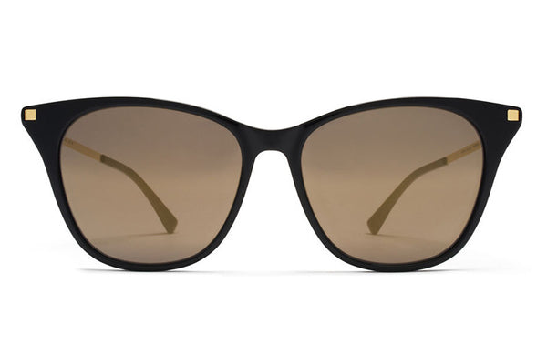 MYKITA Sunglasses - Nilak Black/Glossy Gold with Brilliant Grey Solid Lenses