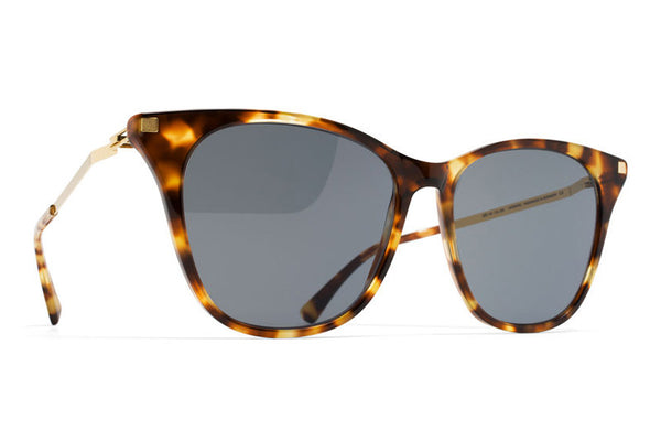 MYKITA Sunglasses - Nilak Cocoa Sprinkles/Glossy Gold with Dark Blue Solid Lenses