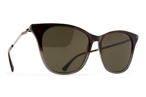 MYKITA Sunglasses - NilakSantiago Gradient/Shiny Graphite with Raw Green Solid Lenses