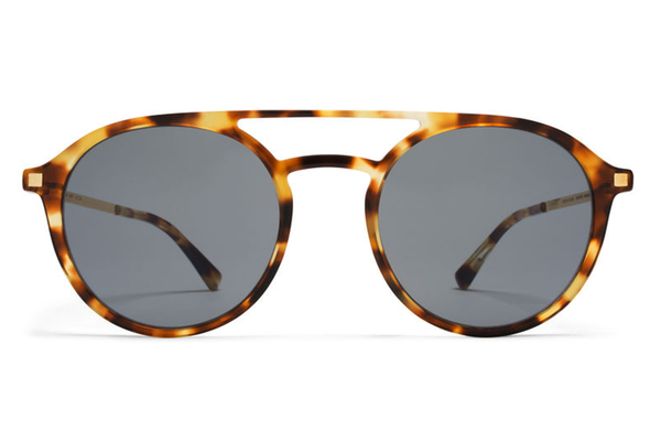 MYKITA Sunglasses - Tupit Cocoa Sprinkles/Glossy Gold with Dark Blue Solid Lenses