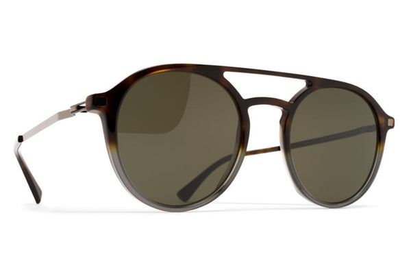 MYKITA Sunglasses - Tupit Santiago Gradient/Shiny Graphite with Raw Green Solid Lenses