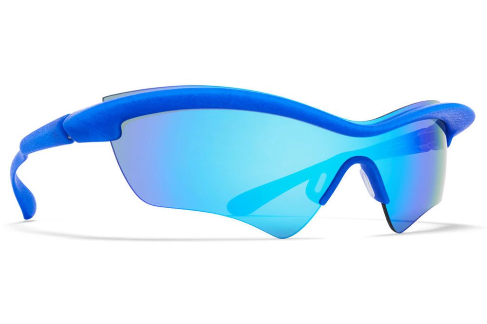 MYKITA + Maison Margiela - MMECHO005 Sunglasses MD30 - International Blue with Turquoise Flash MM Shield
