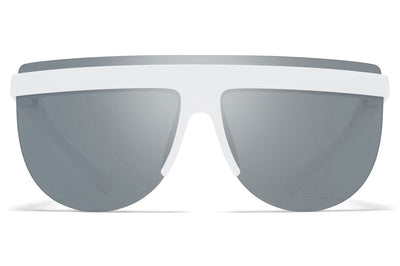MYKITA + Maison Margiela - MMCIRCLE001 Sunglasses MD29 - White with Silver Flash Lenses