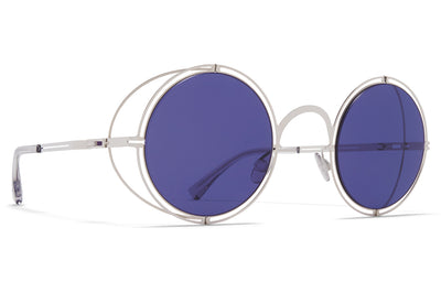 MYKITA + Maison Margiela - MMCRAFT001 Sunglasses Shiny Silver with Indigo Solid Lenses