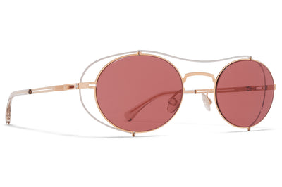 MYKITA + Maison Margiela - MMCRAFT002 Sunglasses Champagne Gold with Purple Solid Lenses