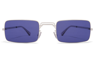 MYKITA + Maison Margiela - MMCRAFT003 Sunglasses Shiny Silver with Indigo Solid Lenses