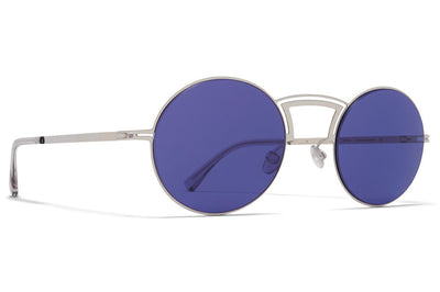 MYKITA + Maison Margiela - MMCRAFT008 Sunglasses Shiny Silver with Indigo Solid Lenses