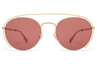 MYKITA + Maison Margiela - MMCRAFT009 Sunglasses Champagne Gold with Purple Solid Lenses